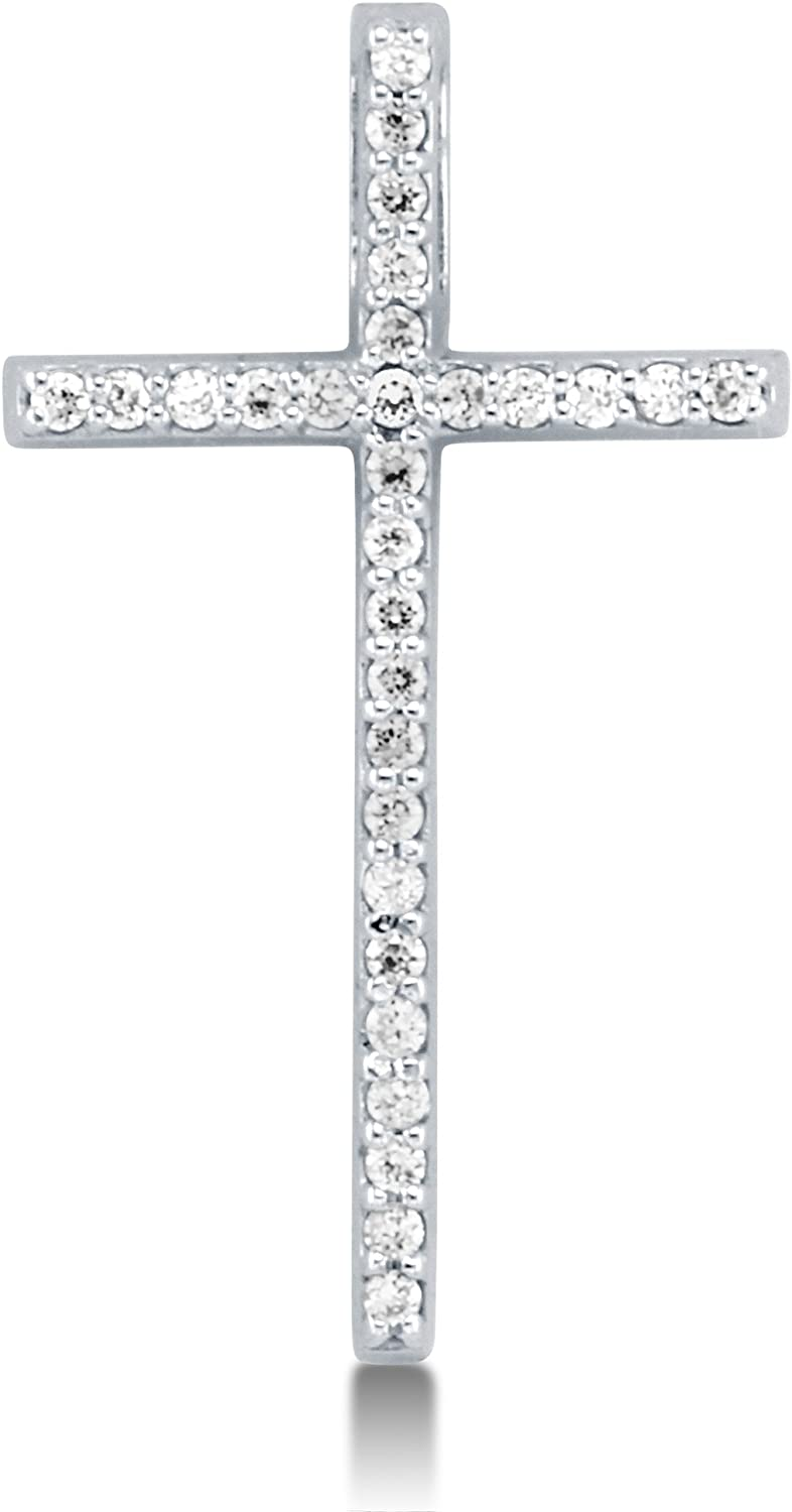 Solid 14K White Gold Round Shape Brilliant Cut CZ Cubic Zirconia Traditional Skinny Classic Cross Ladies Pendant Charm (Height = 1