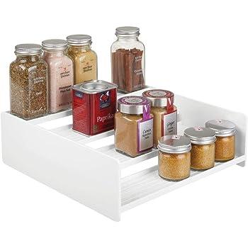 mDesign Especiero de plástico – Práctico organizador de especias para estantería o mueble de cocina – Estante en escalera con 4 escalones que ahorra espacio – blanco: Amazon.es: Hogar