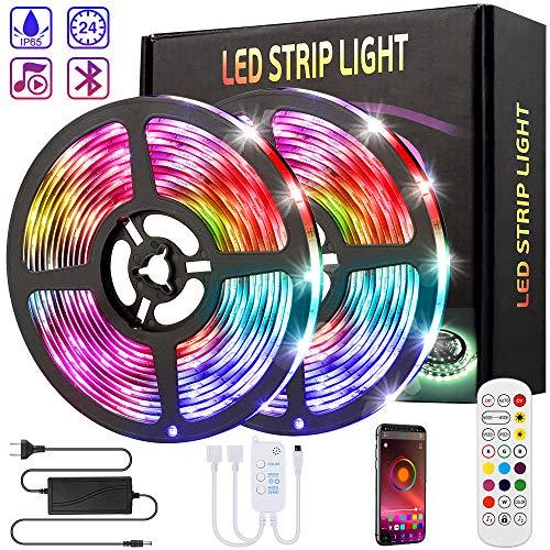 WGCC LED Strip 10M, LED Streifen mit Bluetooth & IR Fernbedienung, 5050 RGB LED Lichtband Selbstklebend Dimmbar, IP65 Wasserdicht LED Strip für TV Beleuchtung, Schrank, Haus Deko [Energieklasse A++]