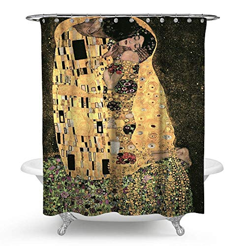 KISY Gustav Klimt The Kiss - Cortina de ducha impermeable para baño, diseño de pintura romántica, famosa, tamaño estándar de 177,8 x 177,8 cm