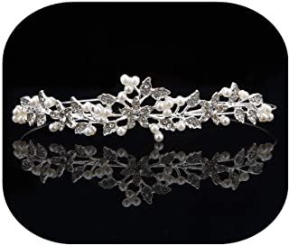 Wedding Bridal Women's Crystal Flower Pearl Decor Crown Headband Hairband hair Accessories Tiara