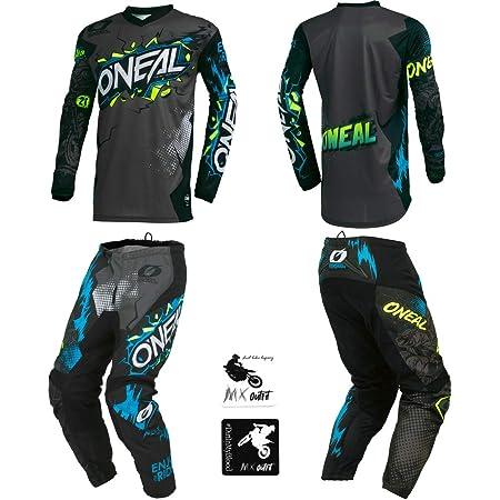 ONeal Element Ride Black//Blue Men motocross MX off-road dirt bike Jersey Pants combo riding gear set Pants W28 // Jersey Medium
