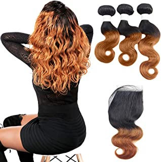 Peruvian Human Hair Bundles With Closure - Orange Star 1B30 Ombre Human Hair Weave With 4x4 Free Part Lace Closure (T1B/30,8 10 12+8)