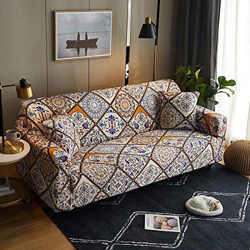 Funda Sofas 2 y 3 Plazas Bohemia Fundas para Sofa con Diseño Elegante Universal,Cubre Sofa Ajustables,Fundas Sofa Elasticas,Funda de Sofa Chaise Longue,Protector Cubierta para Sofá