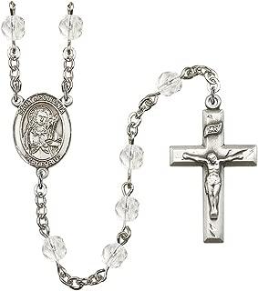 Bonyak Jewelry 18 Inch Rhodium Plated Necklace w// 4mm Red January Birth Month Stone Beads and Saint Rachel Charm
