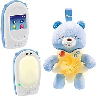 Chicco Good Night - Vigilabebés de audio con panel de cuna y luz antioscuridad activación por voz 330 metros alcance color azul