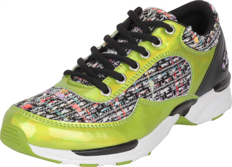 Cambridge Select Women's Low Top Retro 90s Tweed Bouclé Lace-Up Chunky Fashion Sneaker
