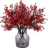 Gypsophila Artificial Flowers, Babies Breath Flowers Bush Artificial Gypsophila Silk Silica Real Touch Blooms for Wedding Bridal Party DIY Home Floral Arrangement Decor, 6 Bundles, 19.7''(Red)