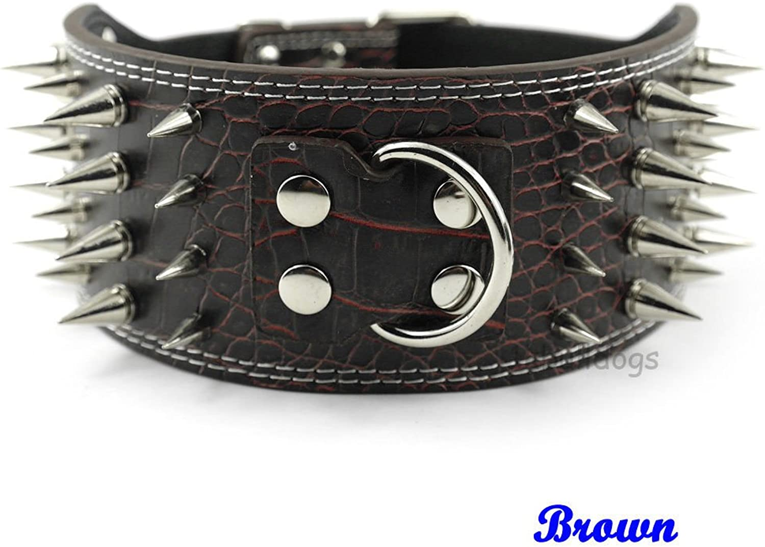 Brown 3inch Wide (7 colors) New Styles Spiked Studded PU Leather Dog Care Collars Pitbull Size   XL