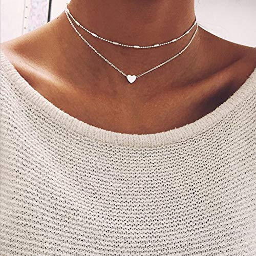 Aluinn Love Heart Layered Choker Necklace Silver Simple Beads Pendant Necklace Simple Chain for Women and Teen Girls