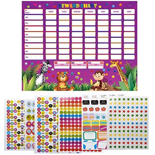 Paquete de 10 gráficos de recompensa para niños con 1000 pegatinas de recompensa