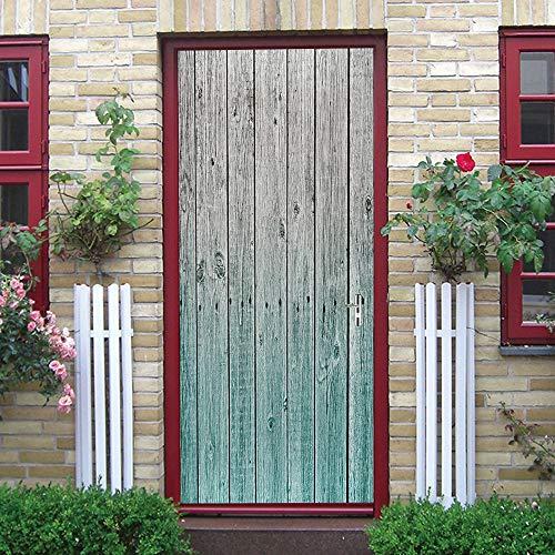 Puerta Pegatinas Mural Patrón de Madera Degradado Verde Papel Pintado Arte Decoración del hogar 86x200cm