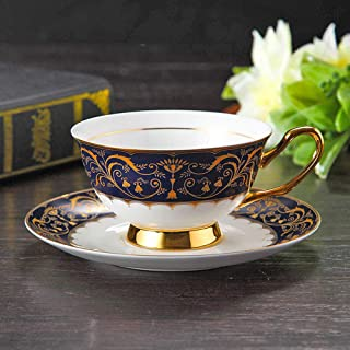 Palace Style Bone China Coffee Cup Saucer Set Afternoon Teacups Hand-Drawn Phnom Penh Porcelain,Novelty Personalised Chocolate Tea Milktea Cups Creative Tea Coffeeware,Best Gift,Style A,200,400Ml