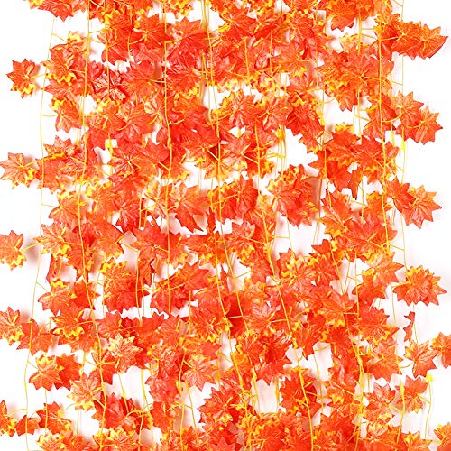 Amerisky Ahornblätter, 12er-Pack, künstliche Herbstgirlande, Seide, Ahornblätter, Girlande zum Aufhängen für Hochzeit, Party, Zuhause, Garten, Thanksgiving, Festival-Dekorationen (90 Fuß)