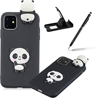 """TPU Case for iPhone 12 Pro/12 6.1"""",Soft Rubber Cover for iPhone 12 Pro/12 6.1"""",Herzzer Ultra Slim Stylish 3D Black Panda S..."""