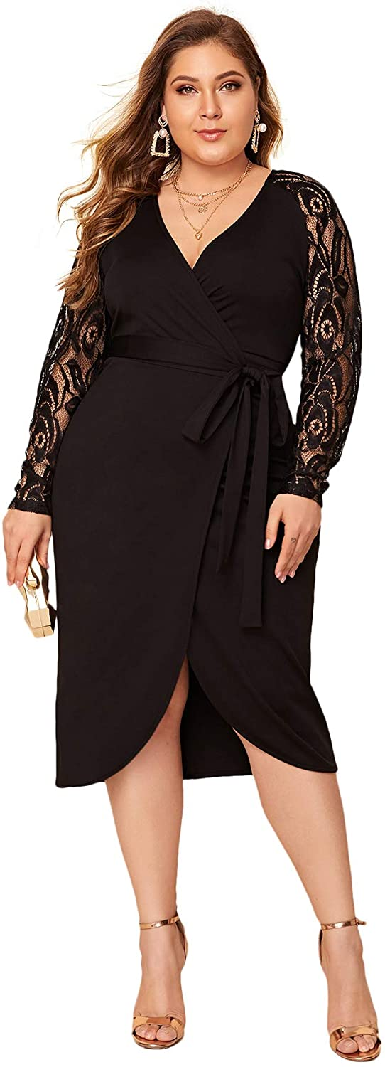 SheIn Women's Plus Elegant Contrast Lace Sleeve Self Belted Wrap Stretchy Bodycon Pencil Dress