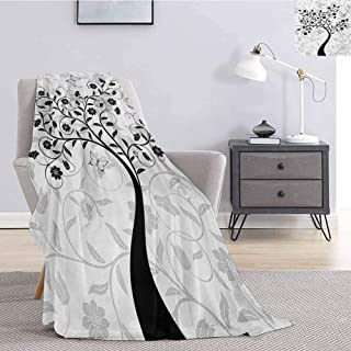Luoiaax Tree Flannel Fleece Throw Blanket Abstract Curly Branches in Full Blossom Spring Foliage Butterfly Monochrome Super Soft Fuzzy Elegant Blanket W70 x L84 Inch Black Pale Grey White