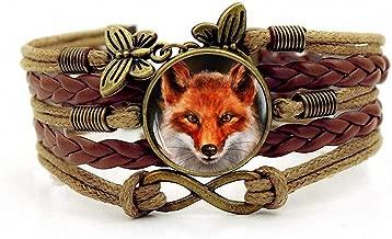 Creativity Handmade Leathers Braided Bracelet Red Fox Cabochon Bracelet Wristband Bracelet
