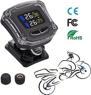 Autmor TPMS Presión de Neumáticos Manómetro de Motocicleta con Función Antirrobo, Sistema de Control de Presión Impermeable con Pantalla LCD Monitor de Presión Neumáticos Inalámbrico con 2 Sensores