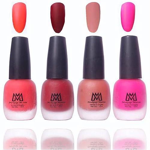 Makeup Mania Premium Nail Polish Velvet Matte Nail Paint Combo (Orange, Red, Brown, Pink, Pack of 4)