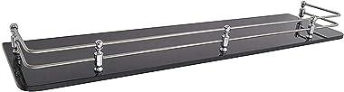 Klaxon Premium Black Glass Shelf for Bathroom/Kitchen Shelf/Bathroom Accessories (18*6 Inches - Pack of 2)