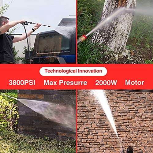 Power Washer, Suyncll Pressure Washer 3800 Max PSI 2000W Electric Portable High Pressure Cleaner Machine with 4 Nozzles, Detergent Tank and Hose Reel, for Homes, Cars, Driveways, Fences, Patios