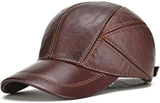 Lei Zhang Korean Version Of Leather Hat Men's Autumn And Winter Warm Leather Hat Outdoor Quilted With Ear Protection Leather Baseball Cap