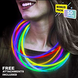 Lumistick 22 Inch Glow Stick Necklaces | Non-Toxic & Kids Safe Light Up Neckwear | Bendable Sticks with Connectors | Glows in The Dark Night Party Favor (Color Assortment, 50 Necklaces)