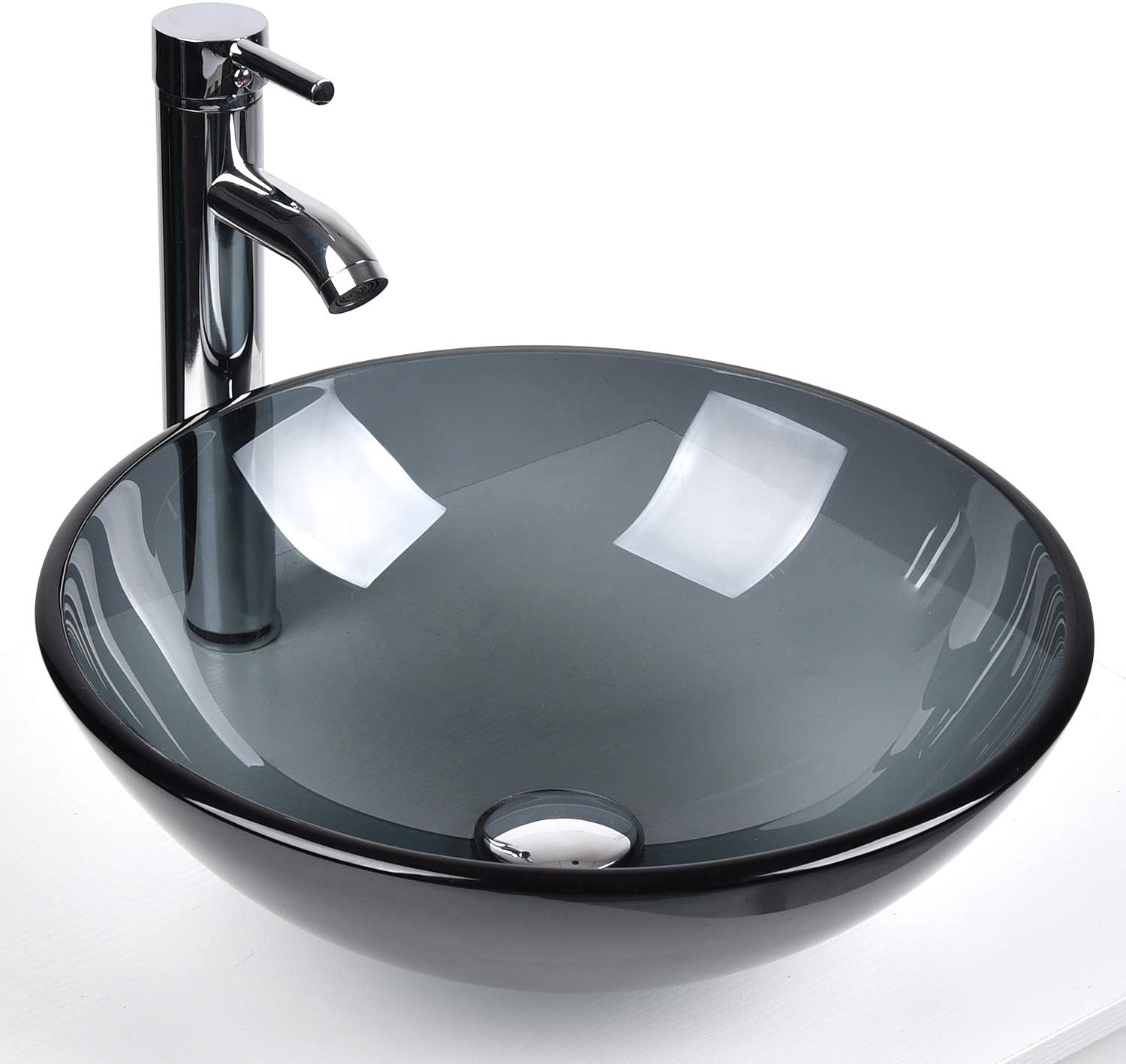 Bathroom Round Glass Vessel Sink Basin With Faucet Pop Up Drain Bluish Grey Crystal Amazon Co Uk Diy Tools