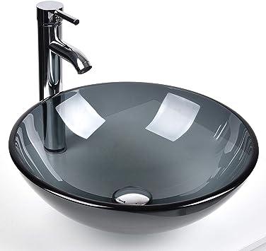 Bathroom Round Glass Vessel Sink Basin With Faucet Pop Up Drain Bluish Grey Crystal Amazon Com