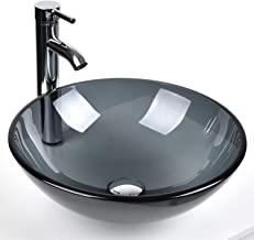 Bathroom Round Grey Clear Glass Vessel Sink Basin with Faucet Pop-Up Drain