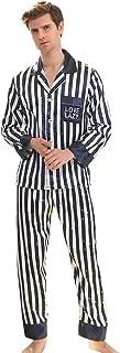 waitFOR Men Autumn Winter Soft Pajama for Homewear Man Teen Boys Lapel Long Sleeve Button Tops Stripe Print Pyjama Bottoms...