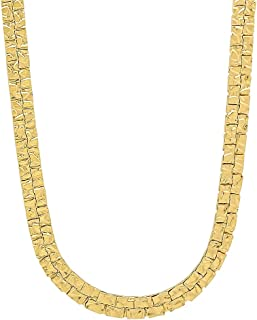 The Bling Factory 5mm-7mm High-Polished 0.25 mils (6 microns) 14k Yellow Gold Plated Flat Nugget Chain Necklace or Bracelet, 7'-36'