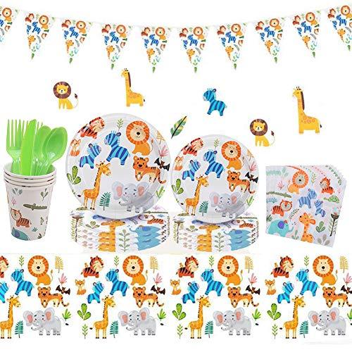 INTVN 91 Piezas Jungle Animals Party Supplies Emoticonos para Cumpleaños ,Party Fiesta...