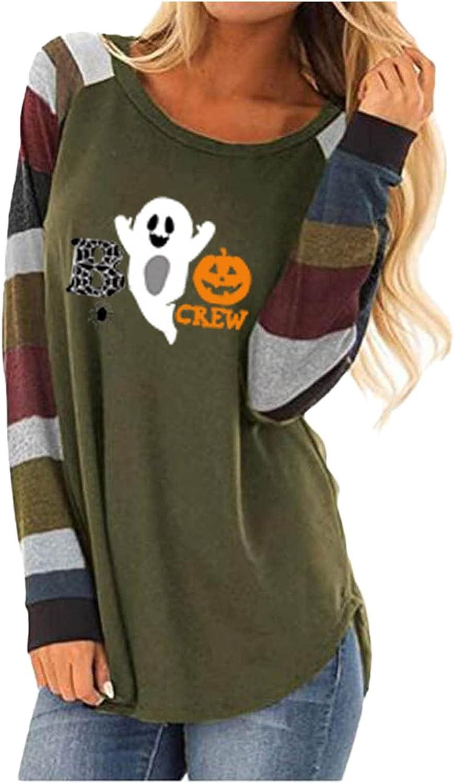 ZIXIA New arrival Halloween Shirts for Women Sleeve Long Workout Elegant T-Sh
