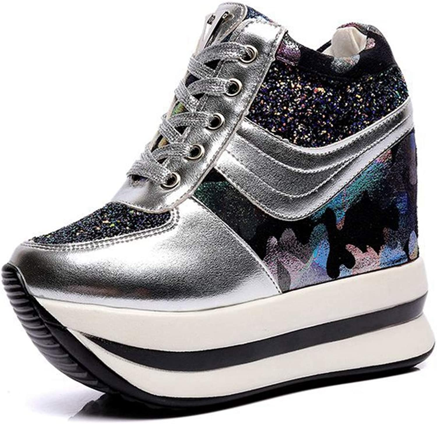 CYBLING Womens Hidden Wedges High Top Sneakers Fashioh High Heels Height Increase Elevator Sport shoes