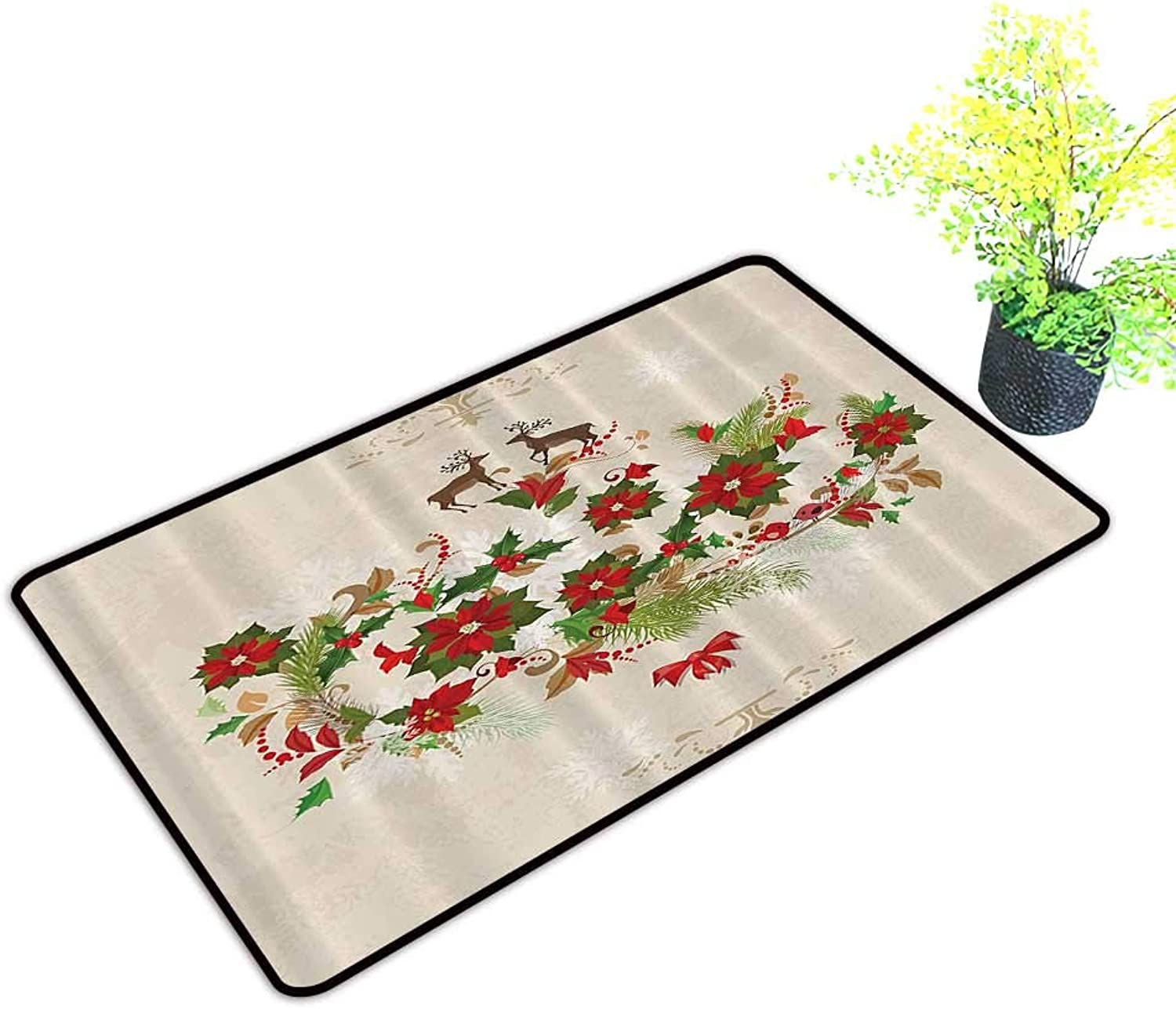 Gmnalahome Front Door Mat for Indoor Outdoor Entry Rug colorful Animal Silhouette with Various Artistic Keep Your House Clean W39 x H19 INCH