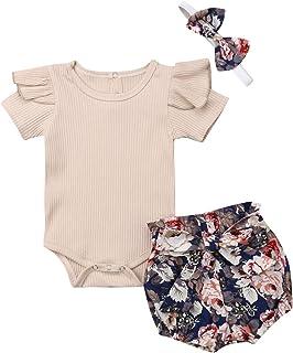 Ensemble d'été pour bébé, 3 pièces, pour bébé, couleur unie, manches courtes, avec pantalons, imprimé floral, court, bande...