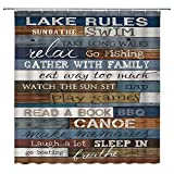 Lake Rules of Cabin Shower Curtain Funny Inspirational Quotes on...