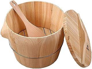 WSVULLD Seau de 10kg de cuisson et de riz à la vapeur, baril de fûts à vapeur en bois avec couvercle plat et godet de cuil...