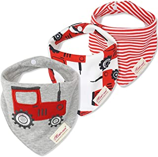 JN&LULU 3-Pack Newborn Baby Bibs Baby Bandana Drool Bibs for Drooling and Teething,Organic Cotton Bibs for Baby Shower Gifts