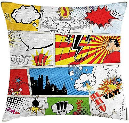 Funda de cojín de almohada de superhéroe, Plantilla de cómics Ficción Fantasía Retro Discurso Burbujas Expresiones Efectos Imprimir, Funda de almohada decorativa cuadrada,