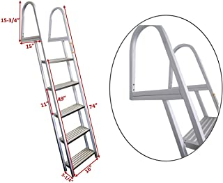 Pactrade Marine Pontoon Boat 5 Step Dock Ladder Aluminum Removable Boarding Ladder Capacity 300lbs