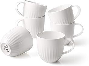 ZEN Pleats Porcelain Coffee Mugs 14oz Set of 6 (White)