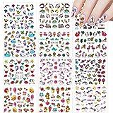 12 Hojas Unicornio Pegatinas de Uñas, Nail Art Stickers Calcomanías, VETPW Vistoso Pegatinas Transferencia Agua Calcomanías Uñas Etiquetas Engomadas para Decoración de Uñas Bricolaje
