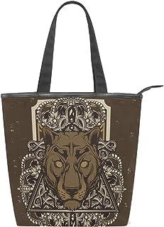MALPLENA Vintage Panther and Crown Schultertasche für Damen Arbeitstasche