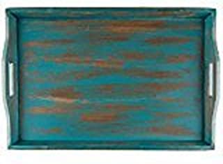 HL XXL Large Wooden Serving Tray Distressed Turquoise Rustic Wood Ottoman 24