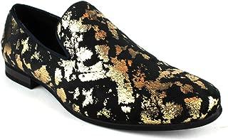 ÃZARMAN Men's Slip On Velvet Gold Leopard Print Dress Shoes Loafers LS21