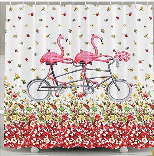 XZXMINGY Cortinas de bañ 150 * 180cm Pink Flamingos Ride On Bicycle Cortina de Ducha Impermeable Decoración de baño