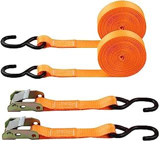 "JCHL Cambuckle Tie Down Straps, Lashing Straps Cargo Tie Down Strap 1"" x20' Ratchet Tie Down Straps Coated S-Hooks 1000lbs..."